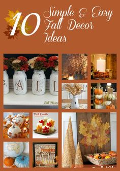 10 simple and easy fall decor ideas to add to your home. Fall Home Decor, Autumn Home, Holiday Decor, Thanksgiving Decorations, Holiday Ideas, Halloween Decorations, Fall Crafts, Diy Crafts, Pumpkin Centerpieces