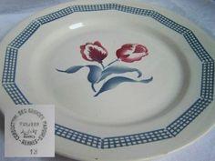 Assiette plate Tulipes Fan de Digoin