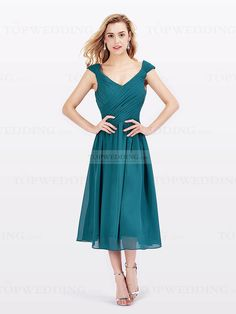 £57.43 Cap Sleeved Chiffon Bridesmaid Dress with Abundant Pleats http://www.topwedding.co.uk/cap-sleeved-chiffon-bridesmaid-dress-with-abundant-pleats-lflw150153.html (Loads of colour choices but not sure about the site...)