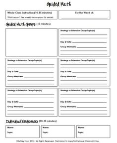 Guided Math sheet