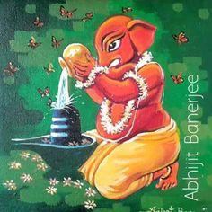 Ganesha - E India Art Festival Ganesha Drawing, Lord Ganesha Paintings, Ganesha Art, Jai Ganesh, Shri Ganesh Images, Shiva Parvati Images, Shiva Shakti, Indian Art Paintings, Modern Art Paintings