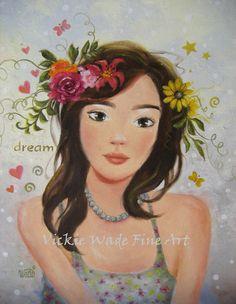Dream Girl Art Print de la peinture originale par VickieWadeFineArt