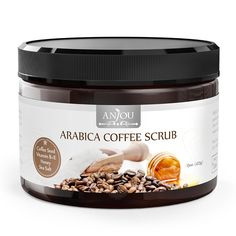 Anjou 15 oz Body Scrub Arabica Coffee Scrub with Honey, Sea Salt, VB, VE (Natural Exfoliator, Cellulite Treatment, Skin Moisturizer, Tan Remover, Great for Varicose Veins treatment) > Hurry! Check out this great product : Skin care