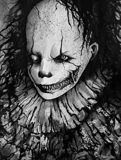Ink on Paper Another fanart for Pennywise Pennywise Dancing Clown Clown Horror, Arte Horror, Horror Art, Horror Movies, Le Clown, Creepy Clown, Creepy Art, Creepy Pictures, Dark Pictures