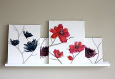 Mixing Textile Art Canvases on an Ikea Picture Ledge.