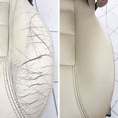How do you repair hard cracks in the leather? Strong cracking in your leather so… How do you repair hard cracks in the leather? Strong cracking in your leather sofa … … – – Cleaning Leather Car Seats, Clean Car Seats, Leather Furniture Repair, Leather Repair, Renovation Cuir, Leather Restoration, Car Restoration, Restoration Hardware, Car Cleaning Hacks