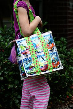 Capri Sun Tote Bag... i can make this!  i used to make them for friends who would pay me haha