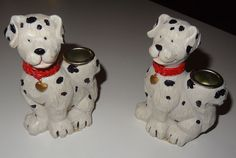 Dalmatian dog candle holders. Two hand painted By Hermitage Pottery 1997