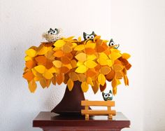 Yellow Weeping willow   Felt Tree  Decoration Children by Intres