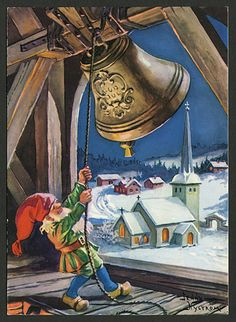 Norwegian Christmas, Old World Christmas, Christmas Scenes, Christmas Gnome, Vintage Christmas Cards, Retro Christmas, Scandinavian Christmas, Xmas, Christmas Illustration