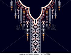 Geometric ethnic pattern.Floral neck embroidery design design for background,wallpaper,clothing and wrapping.