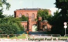Spandau Prison - This picture was taken the morning after Hess died. The barriers were put up to keep sympathisers away.