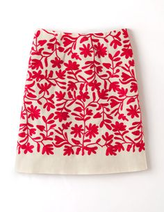 @BodenClothing Fancy Embroidered A-Line Vanilla & Red Flowers skirt is beautiful for Valentine's Day or the Christmas holiday season.