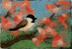 Needle Felted Wool Painting - Chickadee with Blossoms - 4x6