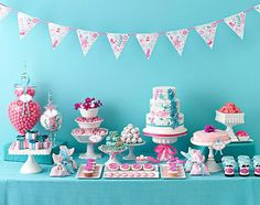 modern pink blue dessert table