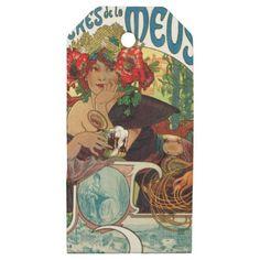 #Alphonse Mucha Bieres De La Meuse Wooden Gift Tags - customized designs custom gift ideas