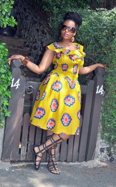 Balma Dress in mustard hues. by HouseofAfrika on Etsy African Wear Dresses, African Attire, African Women, African Fashion, African Traditional Wear, Ankara Styles For Women, African Fabric, African Prints, Weather Wear