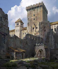 Fantasy City, Fantasy Castle, Fantasy Places, Fantasy World, Dark Fantasy, Fantasy Art Landscapes, Fantasy Landscape, Fantasy Concept Art, Fantasy Artwork