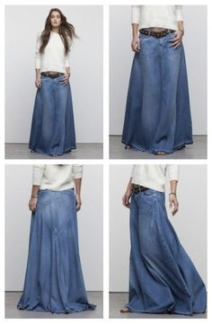 Meet the ultimate denim skirt. In a light-weight, ultra soft denim, this Citizens of Humanity skirt fits and flows in all the right places. Guaranteed to reinvent your look - it may be the smartest purchase youve ever made. The truth is weve. Long Denim Skirt Outfit, Long Denim Skirts, Denim Ideas, Mode Boho, Moda Vintage, Mode Inspiration, Denim Fashion, High Fashion, Womens Fashion