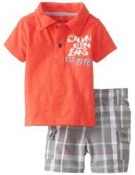 Calvin Klein Baby-Boy Newborn Polo with Plaided Cargo Shorts