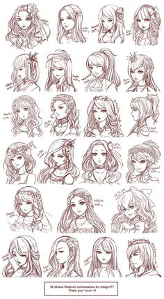 Inspiration: Hair & Expressions ----Manga Art Drawing Sketching Head Hairstyle---- [[[Batch10 by omocha-san on deviantART]]]: