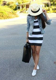 Shop this look on Lookastic:  http://lookastic.com/women/looks/denim-jacket-bodycon-dress-oxford-shoes-tote-bag-hat-bracelet/10249  — Beige Straw Hat  — Light Blue Denim Jacket  — White and Black Horizontal Striped Bodycon Dress  — Gold Bracelet  — Black Leather Tote Bag  — White Leather Oxford Shoes