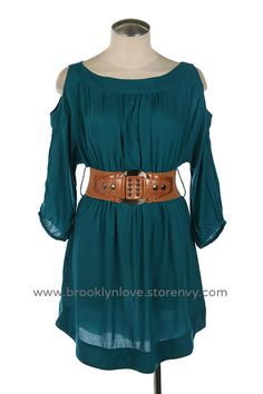 """Have Faith"" Dress Teal 3/4 sleeve woven dress with open shoulder. Brave - merida DisneyBound"