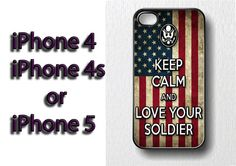 keep calm and love your soldier iPhone case by SERIOLA on Etsy, €13.00