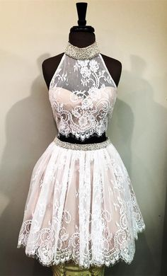homecoming dress, 2017 short homecoming dress prom dress, two piece short homecoming dress, white lace homecoming dress