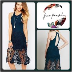 ❣❣✨Free People Nora Lace Razorback Dress✨ ✨Beautiful Free People Nora Lace In Deep Teal✨Cut Back & Razor Back Styling✨Gorgeous Key Hole Back✨Deep Teal✨NEW With Original Tags✨Size Large✨ Free People Dresses