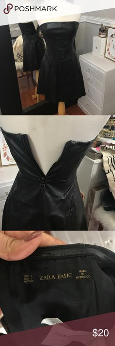 Zara Faux Leather Dress So cute faux leather mini strapless dress in great condition Zara Dresses Mini