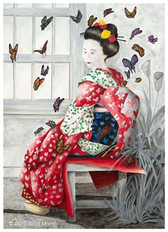 fine artistic geisha art | Geisha Butterfly: Watercolor by Scott Moore
