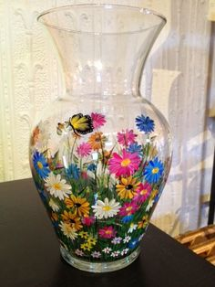 Gem Craft Boutique: New Arrivals Spring 2014 - Hand painted glassware by Sharon Jones Painted Glass Vases, Painted Wine Bottles, Painted Wine Glasses, Bottle Painting, Bottle Art, Bottle Crafts, Gem Crafts, Vase Crafts, Paper Flower Vase