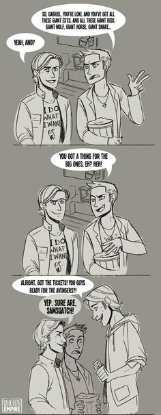 Not destiel but this is awesome I love the fact they're going to see the Avengers and I love Gabriel's shirt haha Johnlock, Supernatural Ships, Supernatural Gabriel, Supernatural Cartoon, Supernatural Drawings, Supernatural Bloopers, Supernatural Pictures, Supernatural Imagines, Supernatural Wallpaper