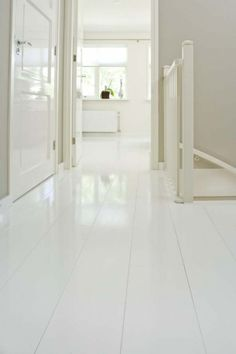 This is what our floors would look like, except it'd be painted concrete with these lines pressed into the material. White Interior, Home And Living, Flooring, White Houses, Interior, House Flooring, White Wood Floors, Hallway Inspiration, Home Deco