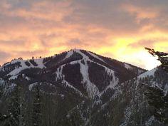 Baldy mountain at sunset in Ketchum, Idaho.