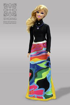 Barbie in Si Hoang ao dai Ao Dai Wedding, Hello Dolly, Vietnam Travel, Barbie Dolls, Sparkle, Fancy, Boho, Country, Dark