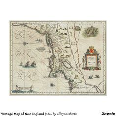 Vintage Map of New England (1635) Poster