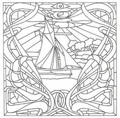 1000 images about stained glass ships boats nautical for Adult coloring pages nautical