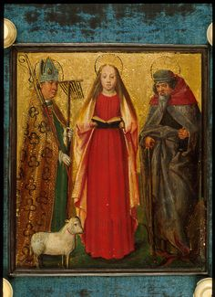 A twelfth-century illumination, once the cover of a German gospel lectionary, depicting St Blaise (with wool-comb attribute), St Agnes (with lamb) and St Anthony Abbot (with bell); (Egerton 809 upper cover Bishop Blaise). (British Library)