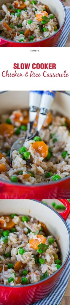 This is the perfect recipe for staying home and relaxing on a cool fall weekend--Slow Cooker Chicken and Rice Casserole.