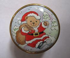 Staffordshire Enamels Trinket Box Pill Teddy Bear Santa Claus Christmas #StaffordshireEnamels