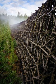 The abandoned wooden bridge Kinsol Trestle in Vancouver Island, Canada