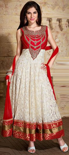 411721, Anarkali Suits, Net, Machine Embroidery, Cut Dana, Stone, Patch, Kasab, Border, Red and Maroon, White and Off White Color Family