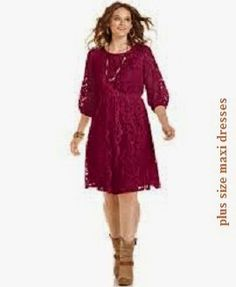 Plus Size Three-Quarter-Sleeve Lace Dress – Junior Plus Sizes – Plus Sizes Plus Size Lace Dress, Lace A Line Dress, Lace Dress With Sleeves, Floral Lace Dress, Plus Size Dresses, Plus Size Outfits, Lace Dresses, Pretty Dresses, Bride Dresses