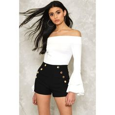 Nasty Gal Overseas High-Waisted Shorts (€34) ❤ liked on Polyvore featuring shorts, black, high waisted zipper shorts, highwaist shorts, high-waisted shorts, high rise shorts and high-rise shorts