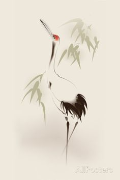 Oriental Style Painting, Red-Crowned Crane Kunststof bord