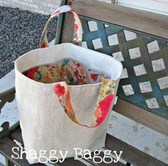 NEW Linen Bucket Tote with pockets by ShaggyBaggy on Etsy