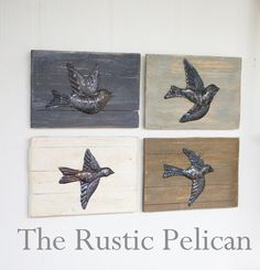 Rustic Wall Art, Set of 4 Hammered Birds, Reclaimed Wood, Rustic Wall Hangings, Farmhouse decor, Recycled Wood Art, Reclaimed Wood and Metal