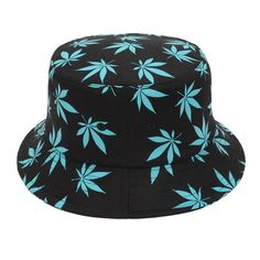 bb10a98fced BLACK Summer Maple Printed 100% Cotton Bucket Hat Hip Hop Outdoor Sun Hats  for Women